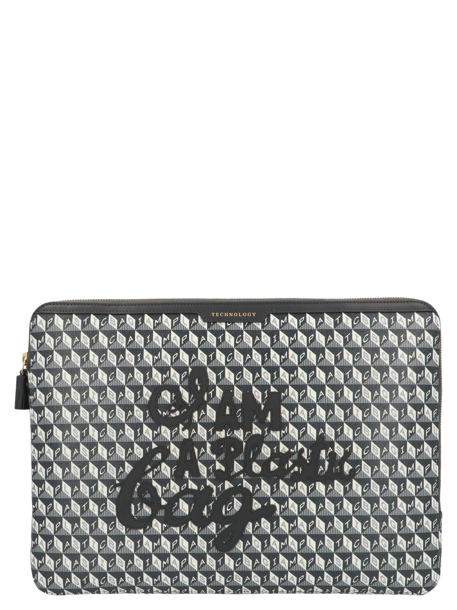 Anya Hindmarch ANYA HINDMARCH WOMEN'S 156448CHARCOAL MULTICOLOR OTHER MATERIALS POUCH