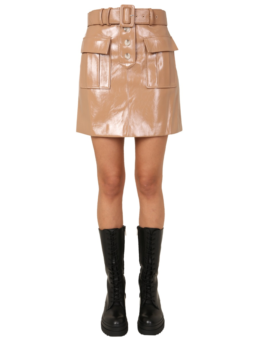 Self-Portrait Leathers PAINTED FAUX LEATHER MINI SKIRT