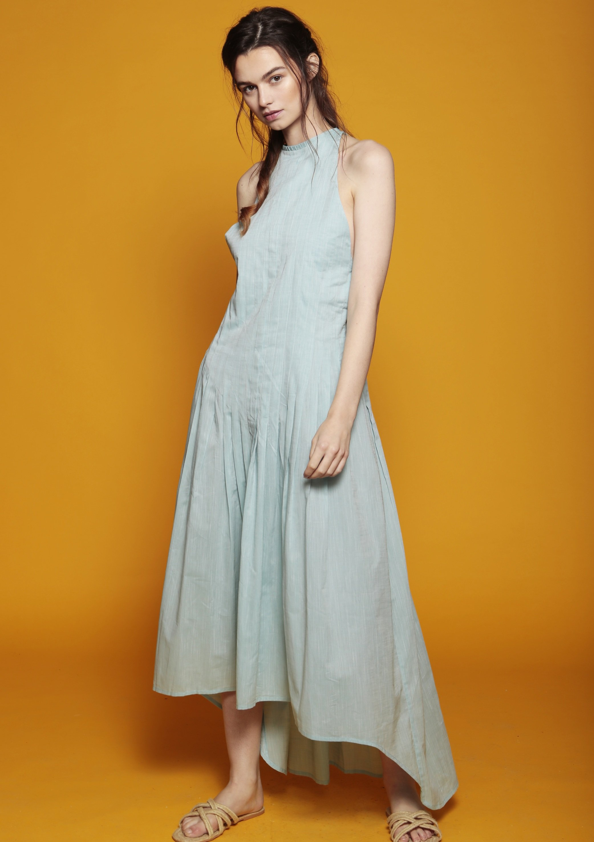 RAIN green pleated dip-hem maxi cocktail dress