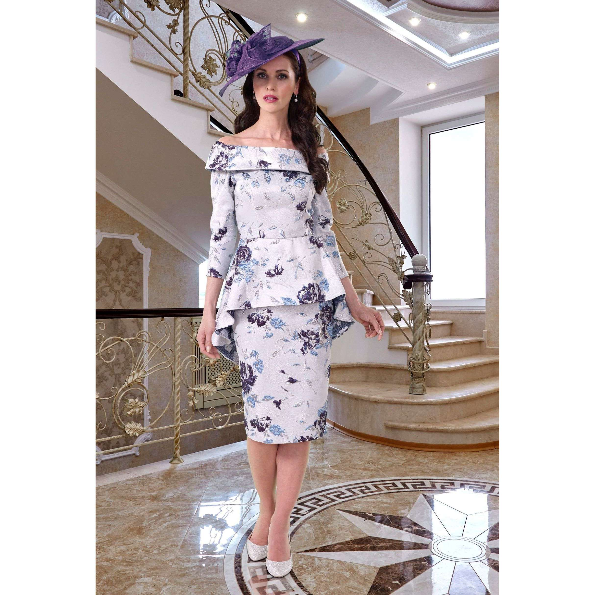 Veromia Occasions DC457 Silver Purple Dress