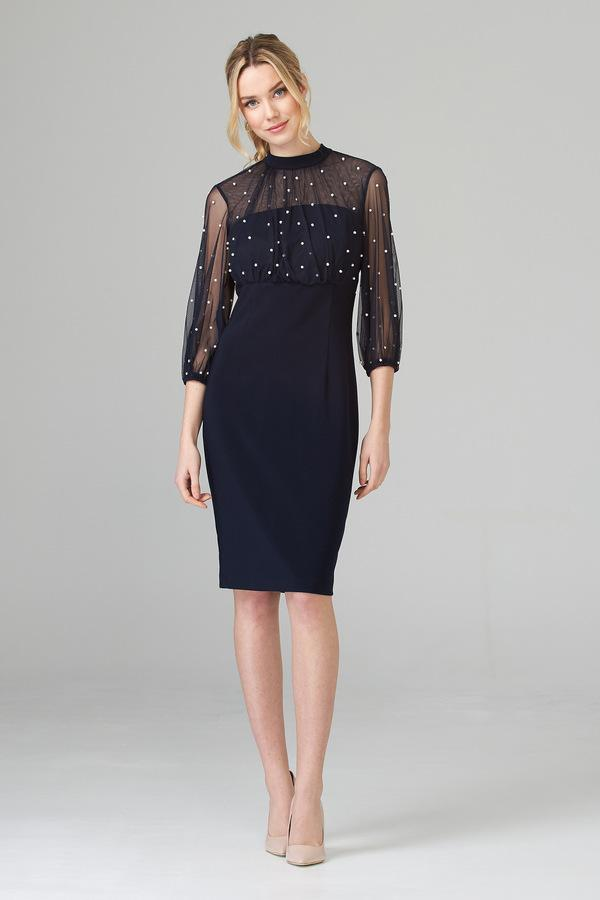 Joseph Ribkoff Navy Dress with Pearl Detail 201291