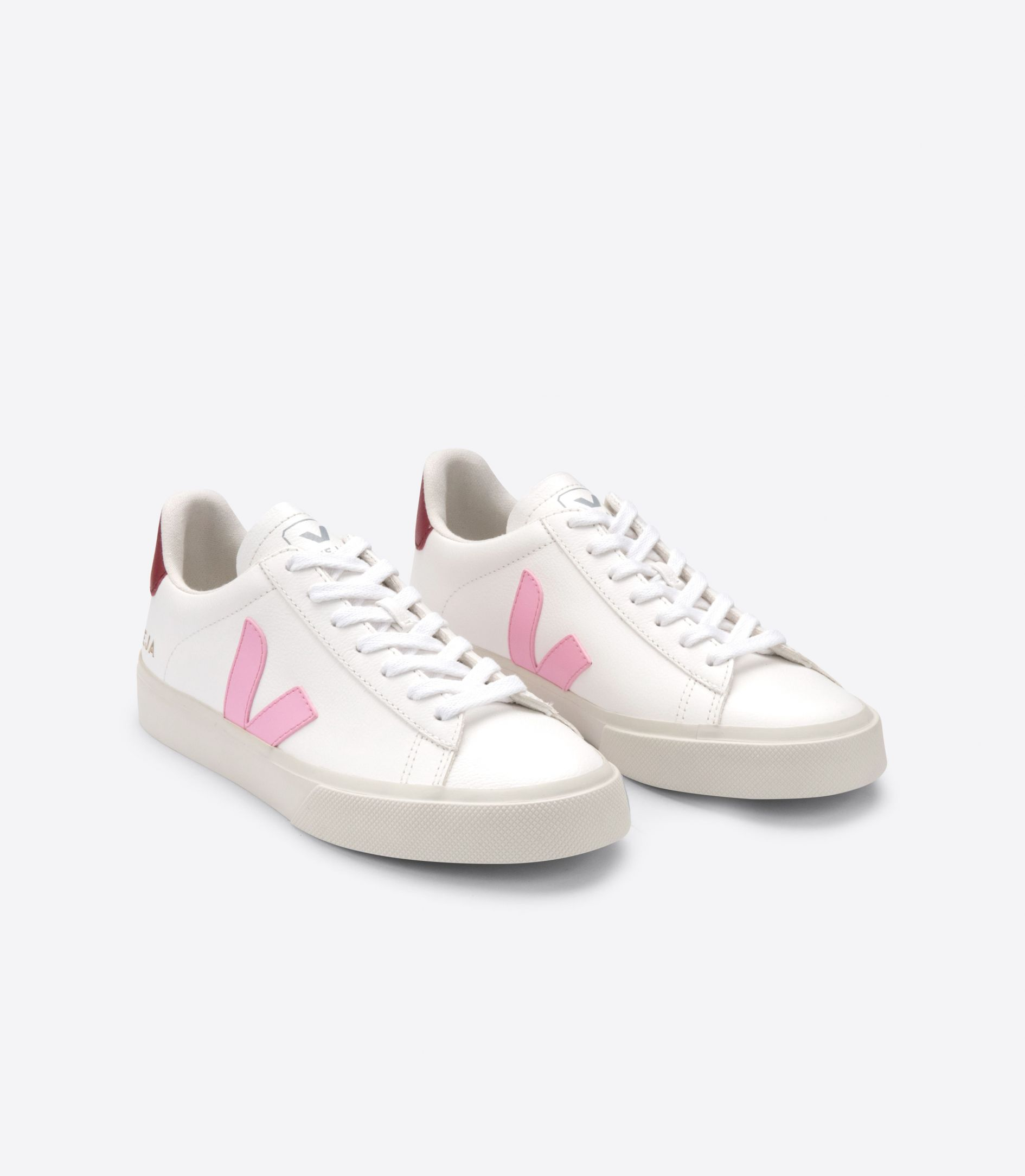VEJA CAMPO WHITE GUIMAUVE & MARSALA LEATHER SNEAKERS