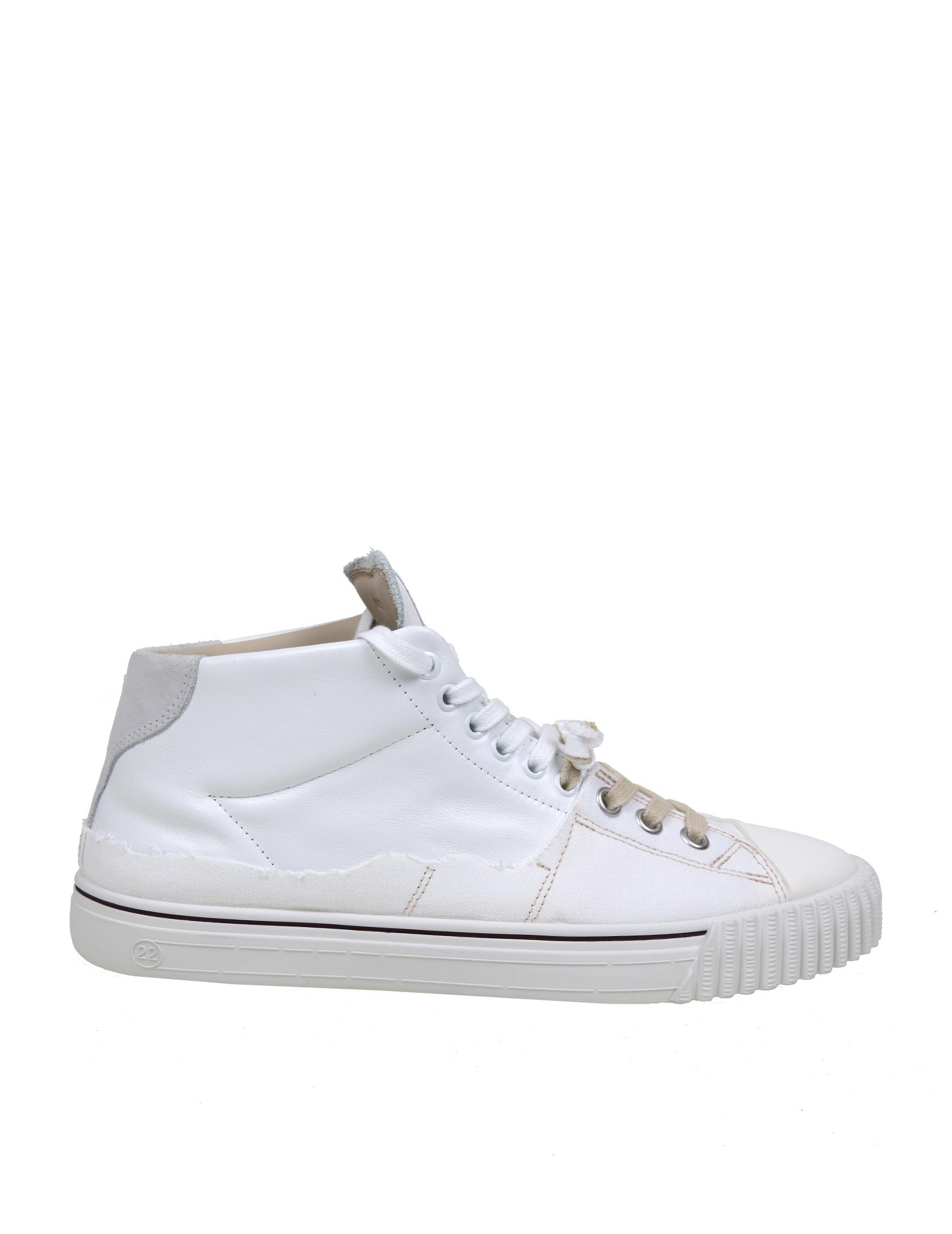 Maison Margiela MAISON MARGIELA EVOLUTION SNEAKERS IN LEATHER AND CANVAS