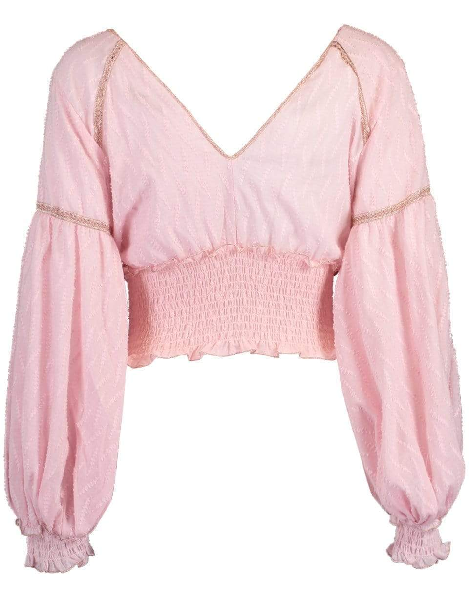 Chio Embroidered Balloon Sleeve Top In Pink