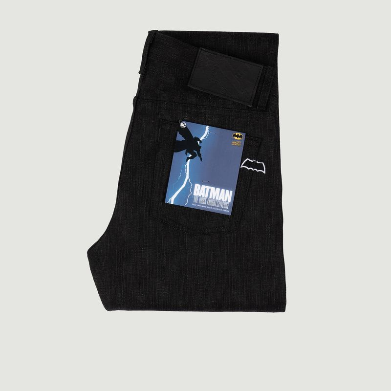 Naked And Famous DARK KNIGHT SELVEDGE X BATMAN WEIRD GUY JEANS BLACK X GREY NAKED AND FAMOUS