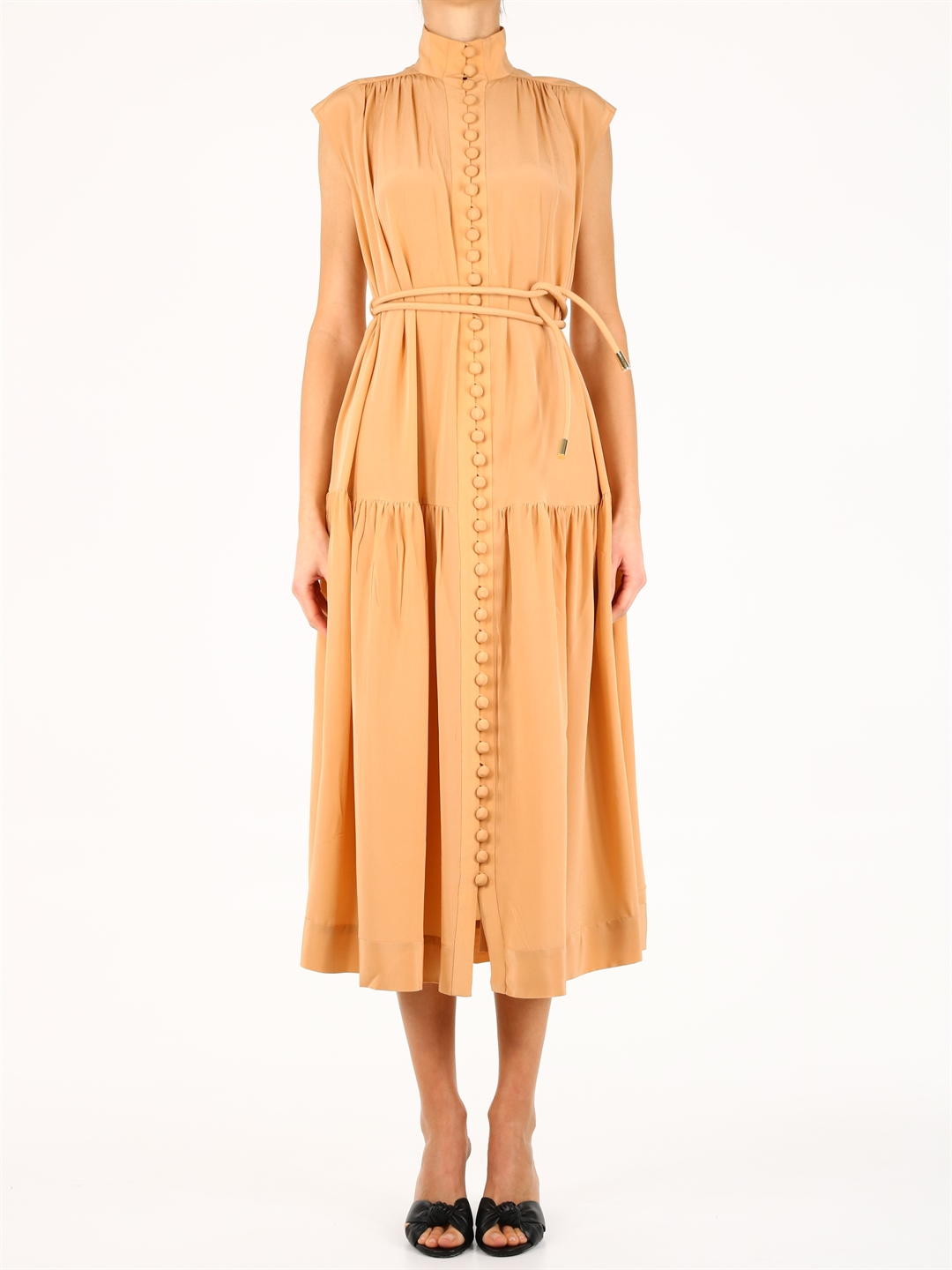 Zimmermann SILK MIDI DRESS CAMEL
