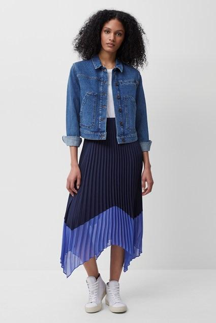 French Connection ALI PLEATED MIDI SKIRT- NOCTURNAL/BAY BLUE-73QAV