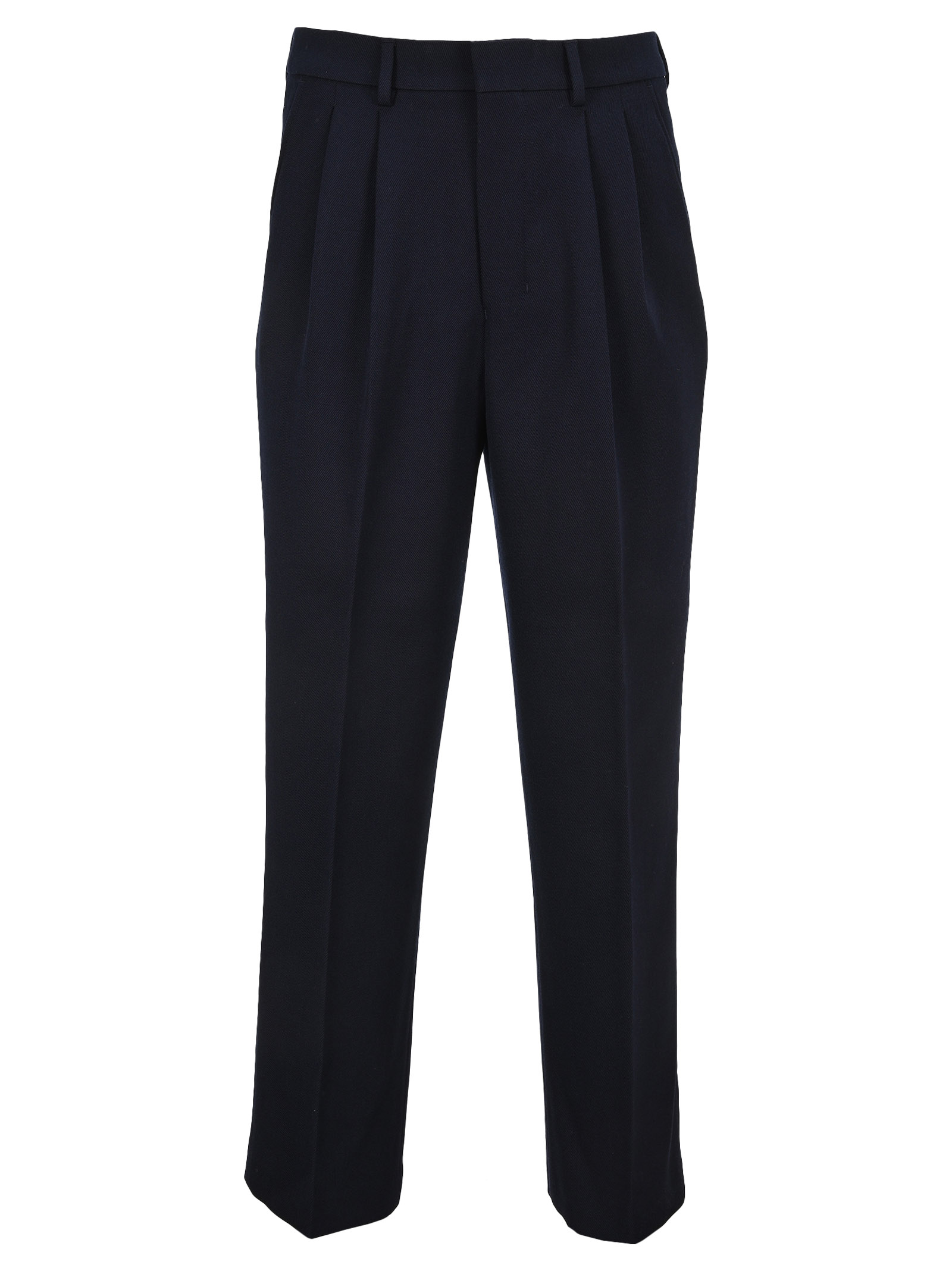 Ami Alexandre Mattiussi Wide Fit Pleated Trousers In Blue
