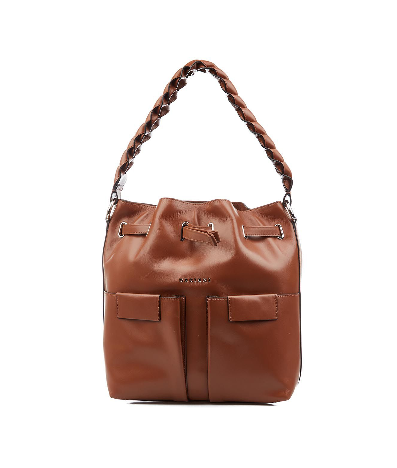 Orciani Handbag With Braid Detail In Cuoio