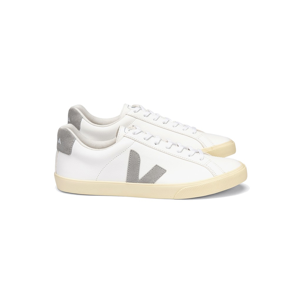 Veja VEJA ESPLAR LOGO LEATHER TRAINERS - EXTRA WHITE & OXFORD GREY