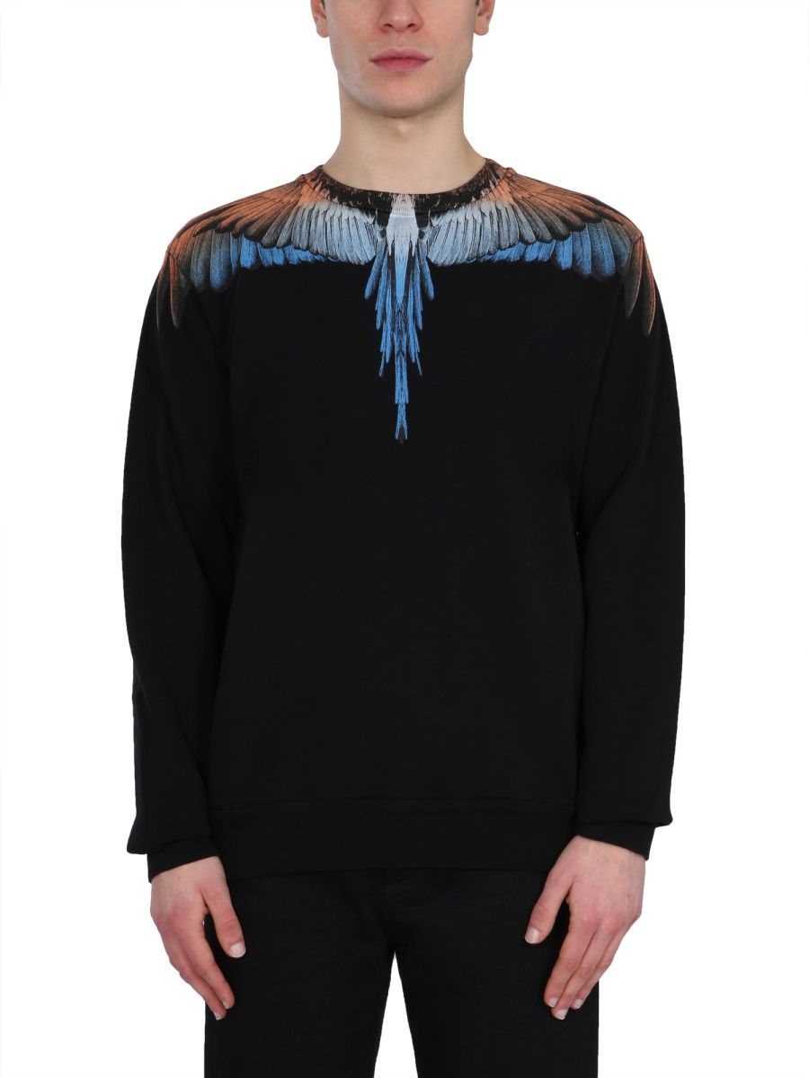 MARCELO BURLON COUNTY OF MILAN MARCELO BURLON MEN'S CMBA009R21FLE0011020 BLACK OTHER MATERIALS SWEATSHIRT