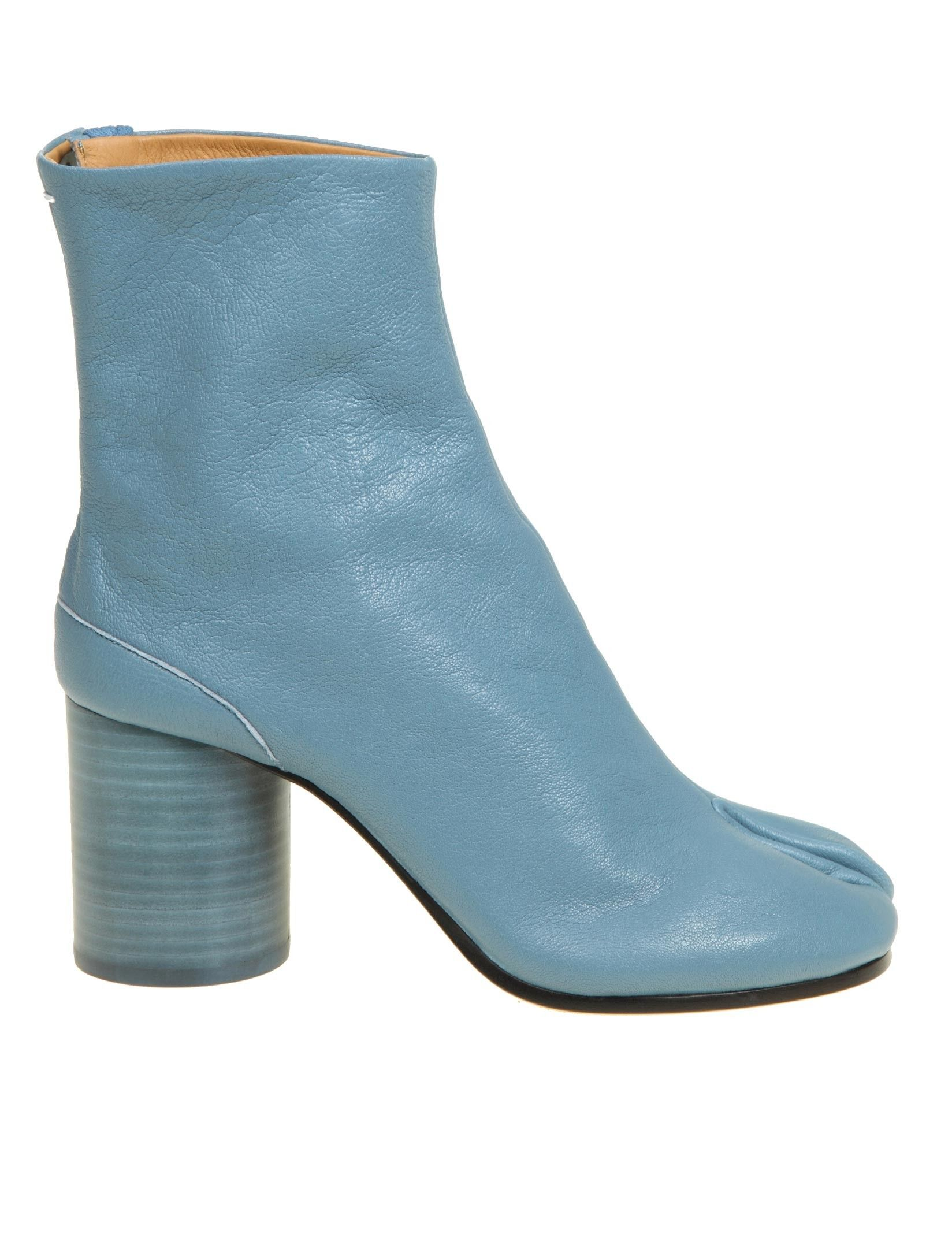 Maison Margiela MAISON MARGIELA WOMEN'S S58WU0260P3753T605 LIGHT BLUE LEATHER ANKLE BOOTS