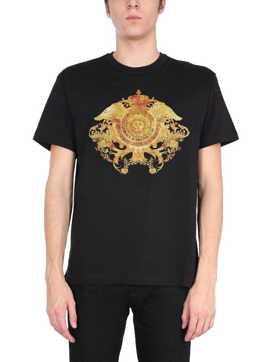 Versace Jeans Couture VERSACE JEANS MEN'S B3GWA74011620899 BLACK OTHER MATERIALS T-SHIRT