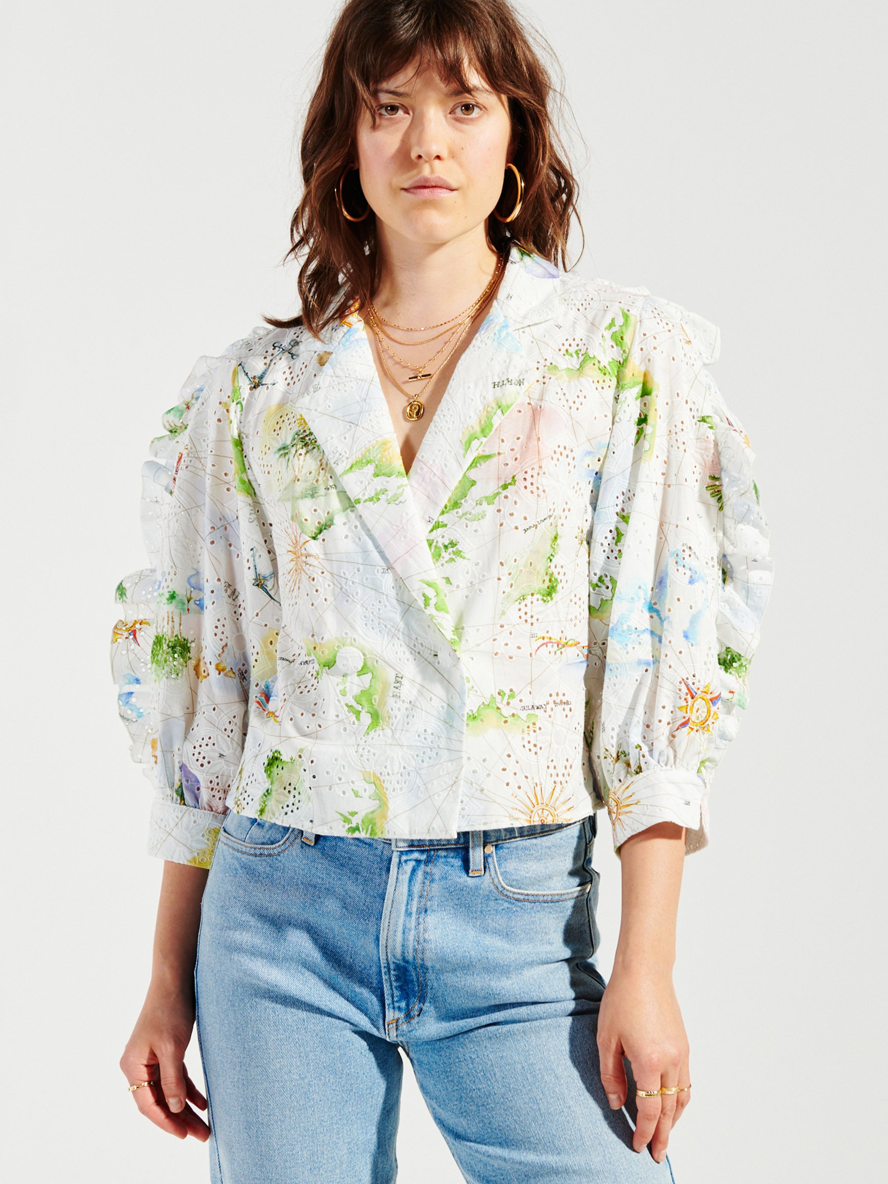 Hayley Menzies PARADISE FOUND COTTON BRODERIE TUX SHIRT