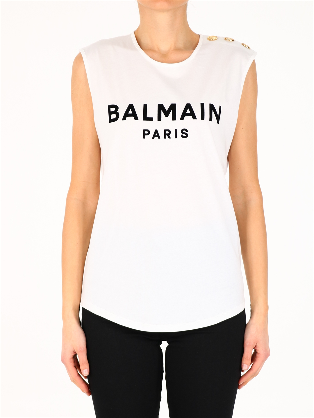 Balmain Cottons LOGO TOP WHITE