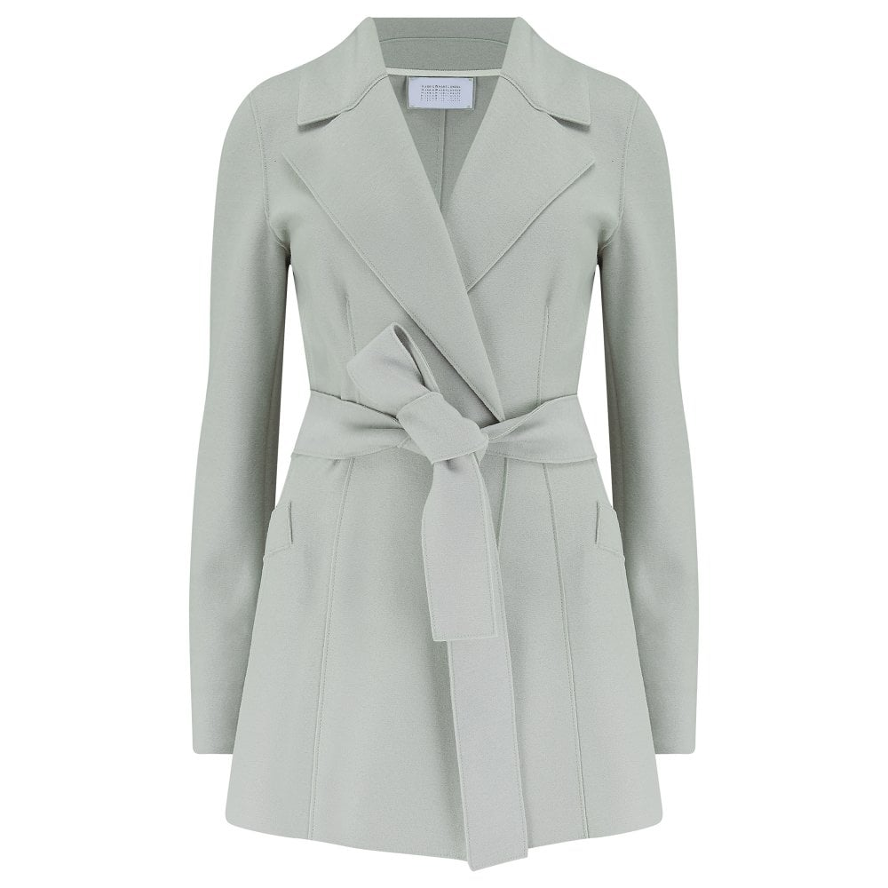 Harris Wharf Belted Duster Jacket in Pastel Green