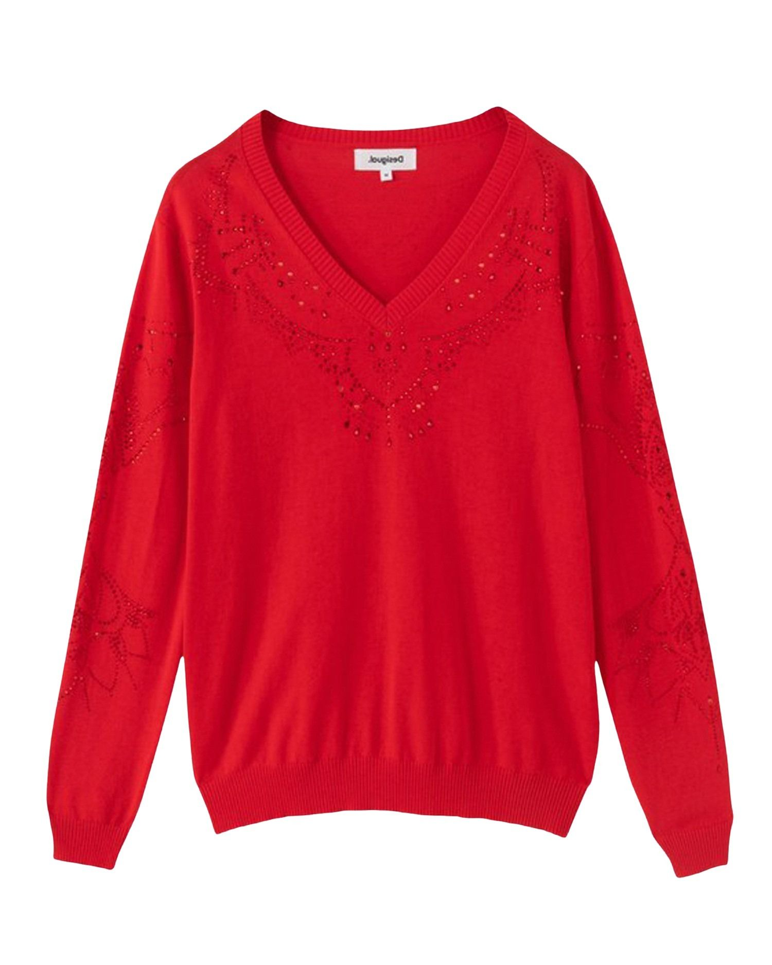 Desigual Cottons DESIGUAL WOMEN'S 21SWJF04RED RED COTTON SWEATER