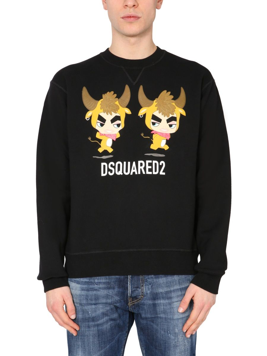 Dsquared2 DSQUARED2 MEN'S S74GU0507S25042900 BLACK OTHER MATERIALS SWEATSHIRT