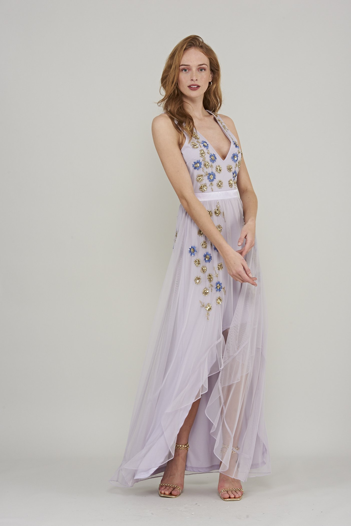Maia Dip Hem Embellished Maxi Dress