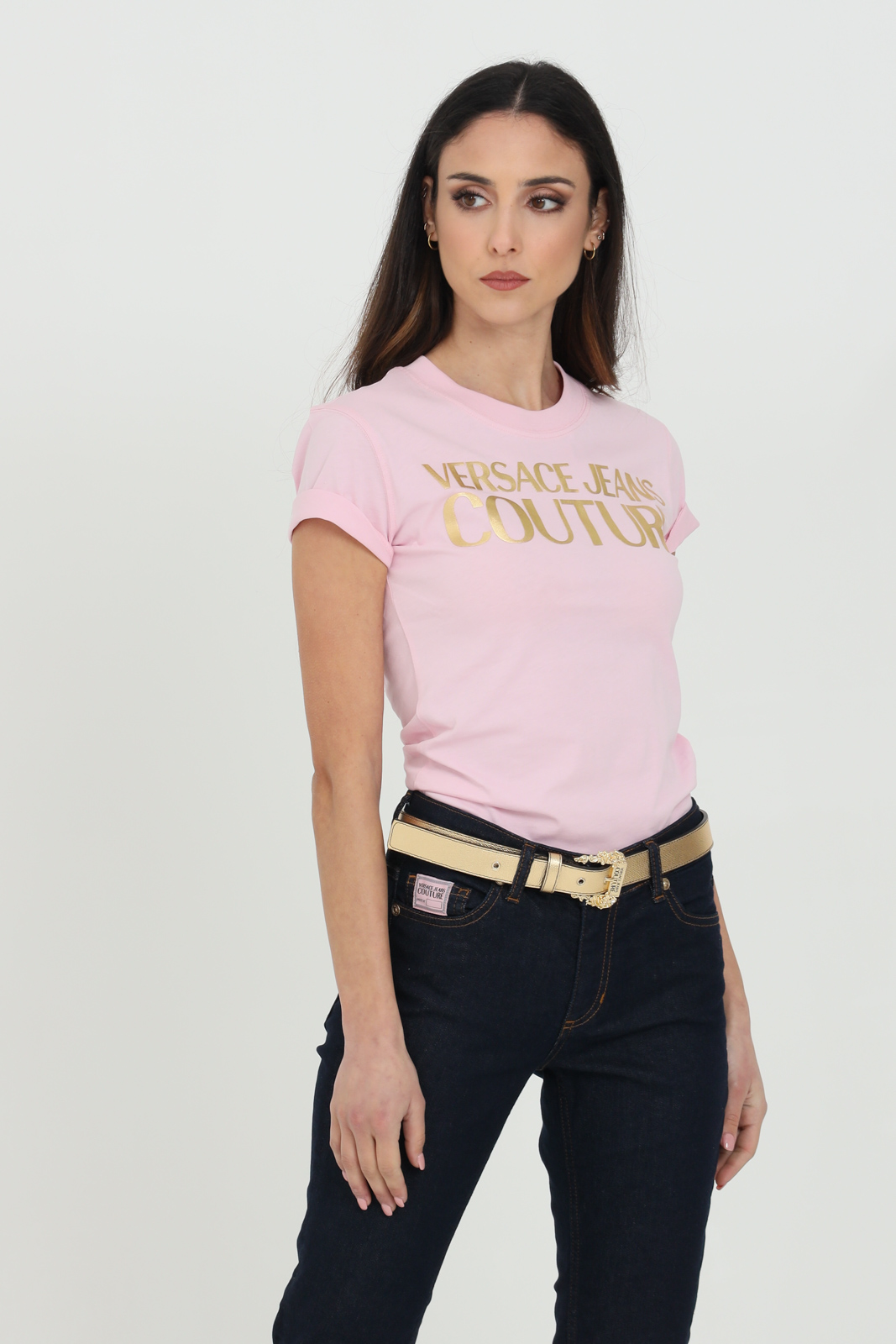 Versace Jeans Couture T-shirts T-SHIRTS WITH LOGO FRONT GOLD