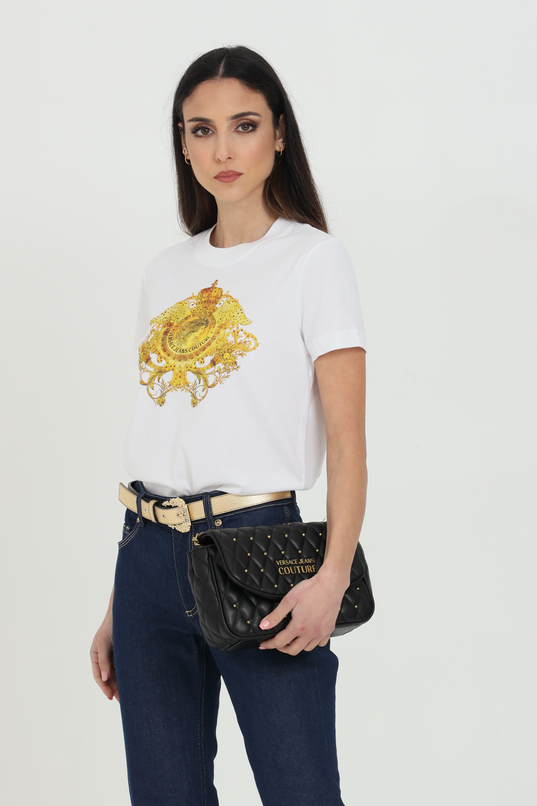Versace Jeans Couture T-SHIRTS AND RHINESTONE WITH BAROQUE PRINT