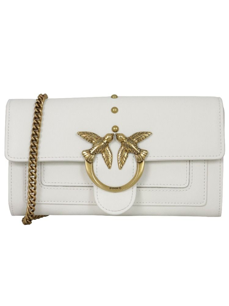 Pinko Wallets PINKO WOMEN'S 1P221YY6XTZ14 WHITE LEATHER WALLET