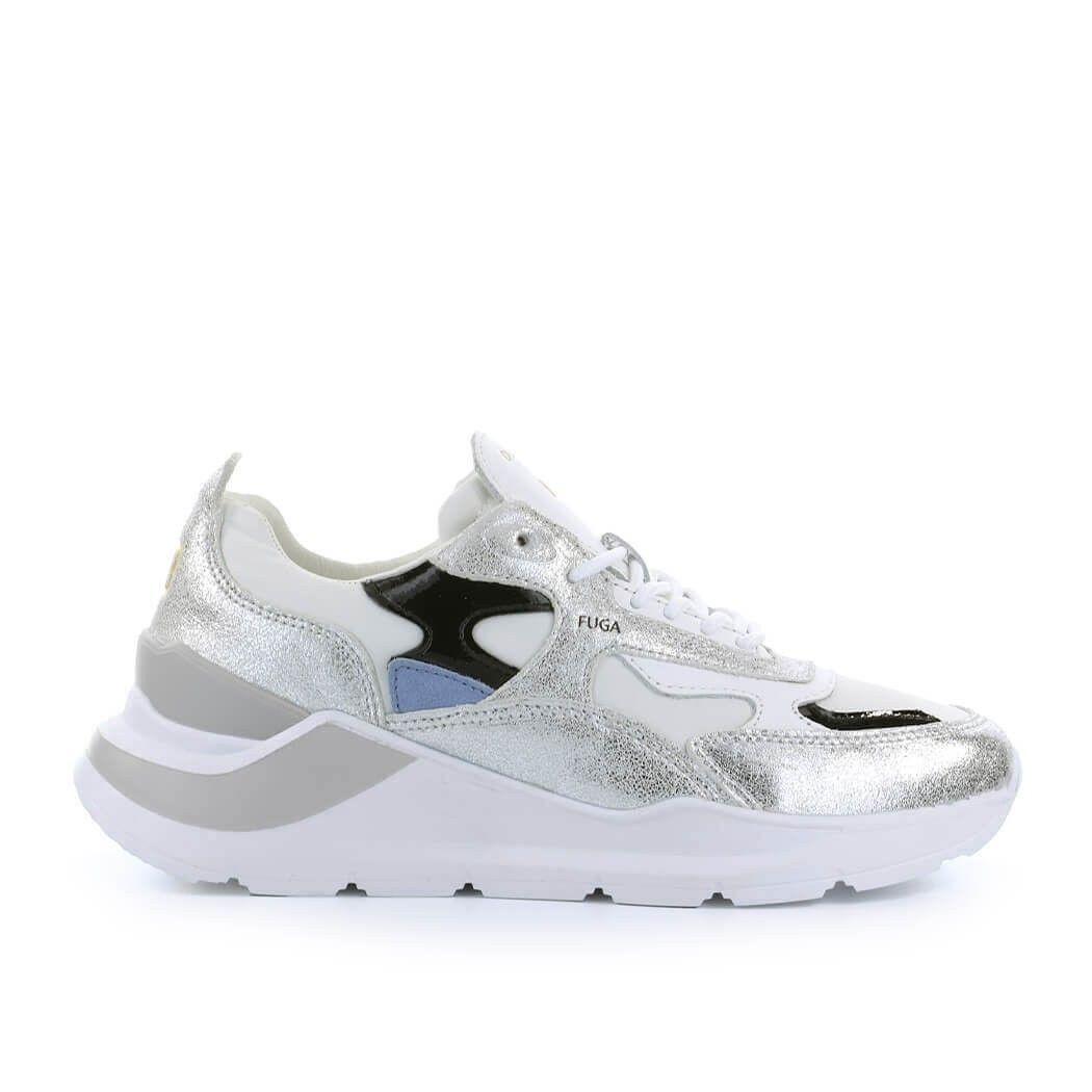 D.a.t.e. Leathers WOMEN'S W341FGRXWS SILVER LEATHER SNEAKERS
