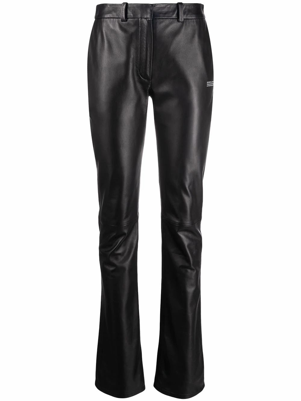 Off-White Leathers OFF-WHITE WOMEN'S OWJB014R21LEA0011000 BLACK LEATHER PANTS