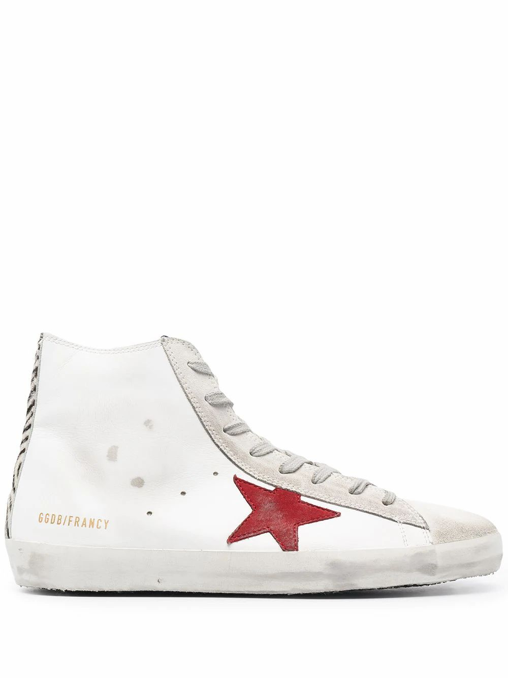 Golden Goose Leathers GOLDEN GOOSE MEN'S GMF00113F00123180913 WHITE LEATHER HI TOP SNEAKERS