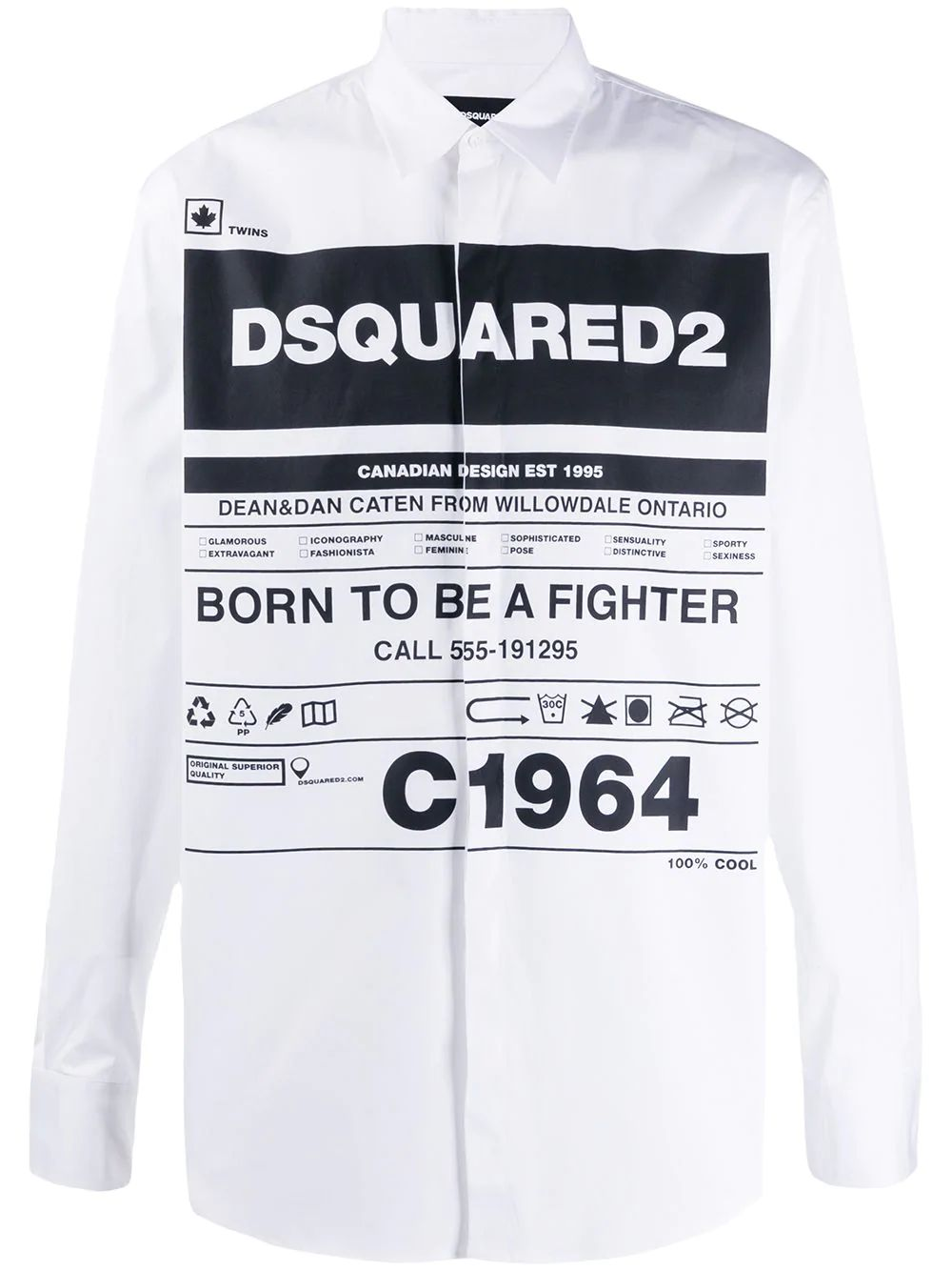 Dsquared2 DSQUARED2 MEN'S S74DM0391S44131100 WHITE COTTON SHIRT