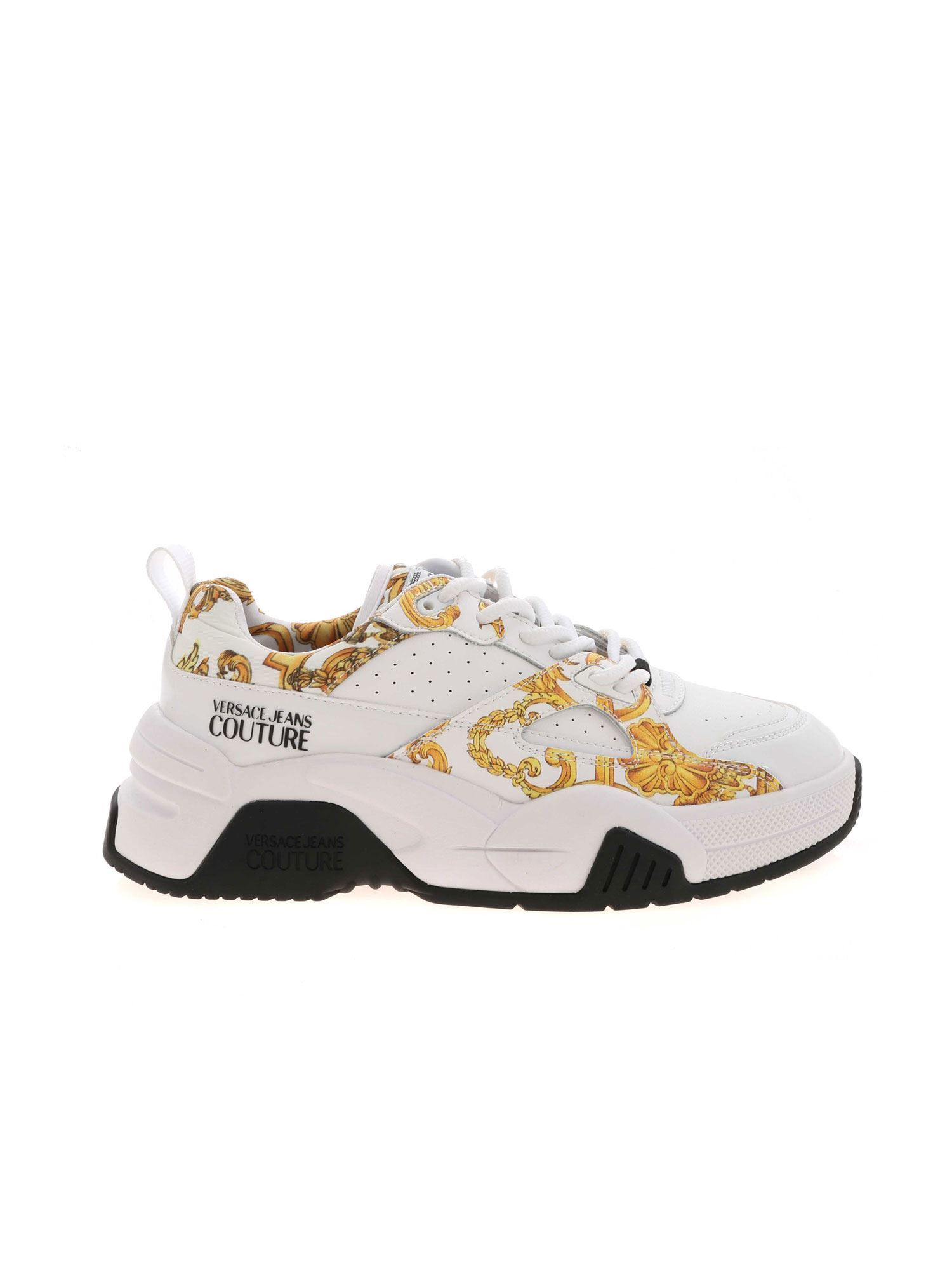 Versace Jeans Couture Leathers VERSACE JEANS WOMEN'S E0VWASF371953MCI WHITE LEATHER SNEAKERS