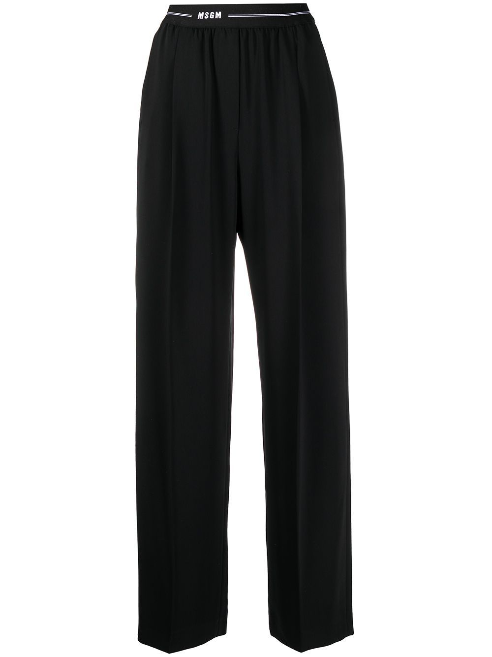Msgm WOMEN'S 3041MDP1221711699 BLACK OTHER MATERIALS PANTS