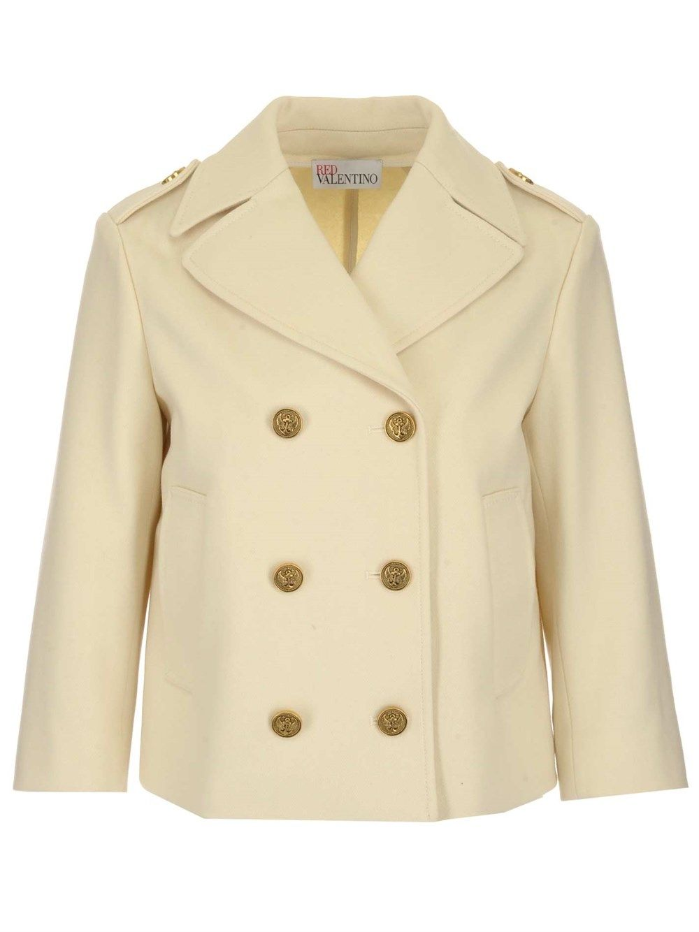 Red Valentino RED VALENTINO WOMEN'S VR3CID050NA031 BEIGE OTHER MATERIALS COAT