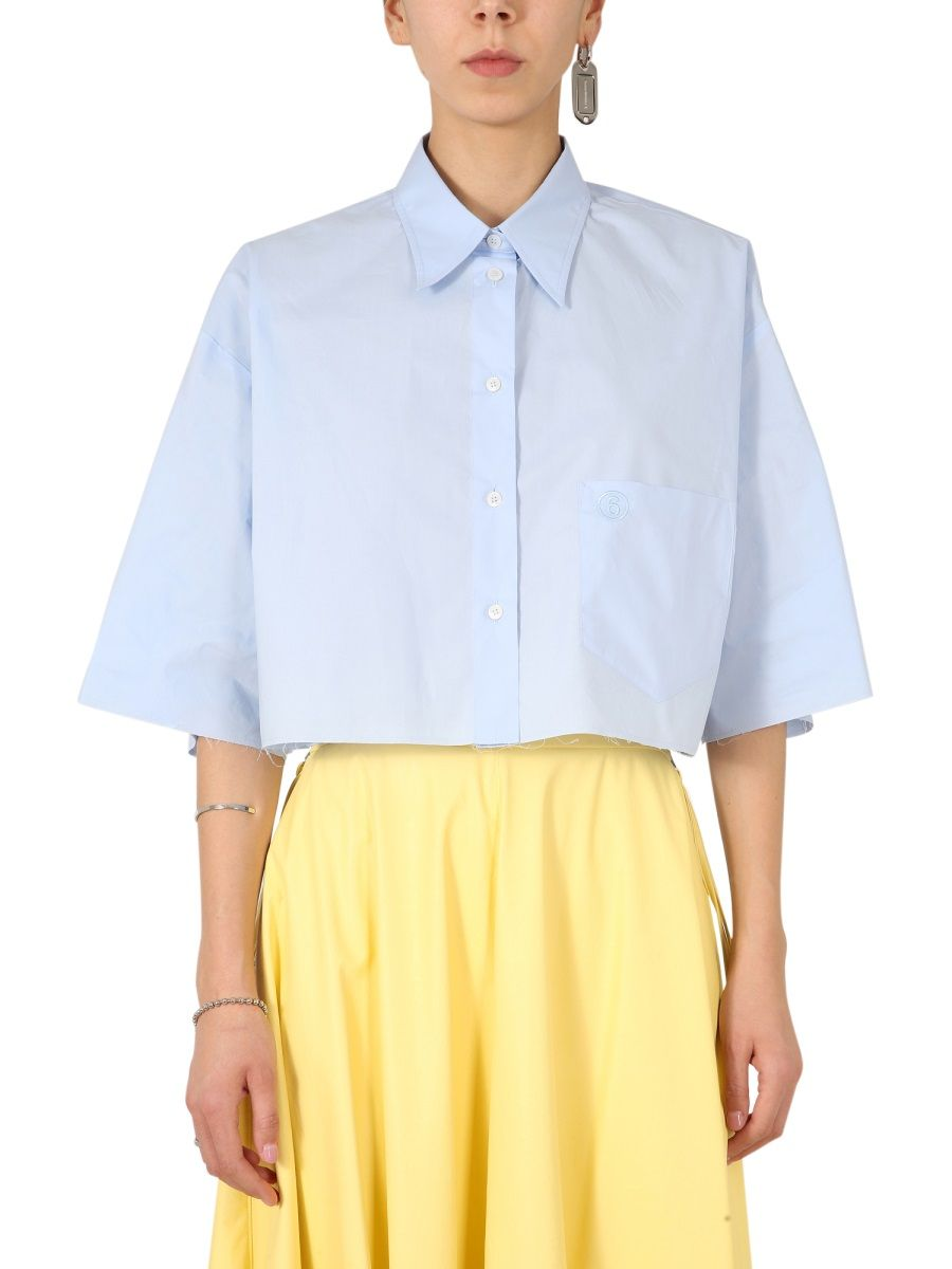 Maison Margiela MAISON MARGIELA WOMEN'S S62DL0043S47294479 LIGHT BLUE OTHER MATERIALS SHIRT