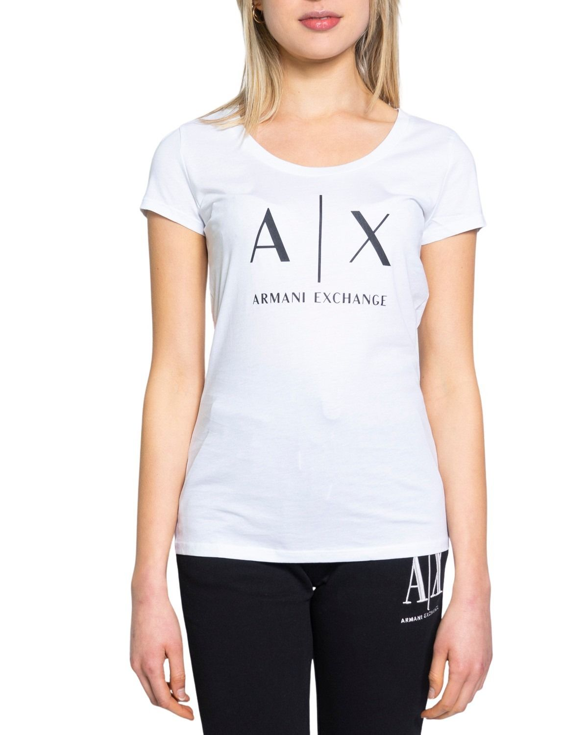 Armani Exchange ARMANI EXCHANGE WOMEN'S 8NYT70YJ16Z1100 WHITE COTTON T-SHIRT