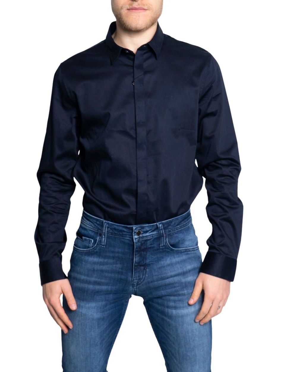 Armani Exchange ARMANI EXCHANGE MEN'S 8NZCBDZN10Z1510 BLUE COTTON SHIRT