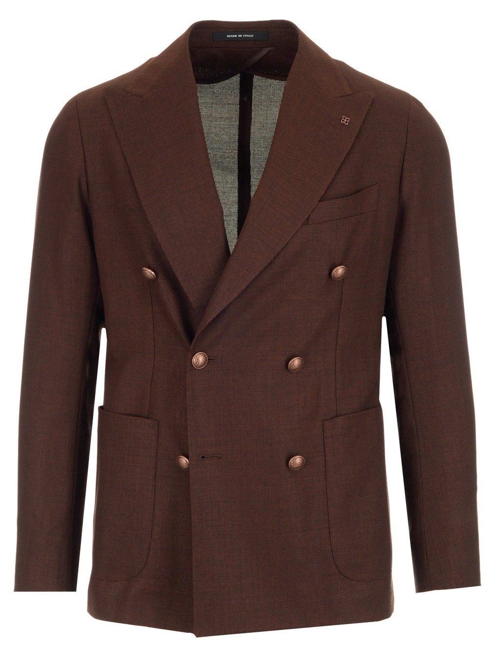 Tagliatore TAGLIATORE MEN'S 1SMC20K52UEG077K1283 BROWN OTHER MATERIALS BLAZER