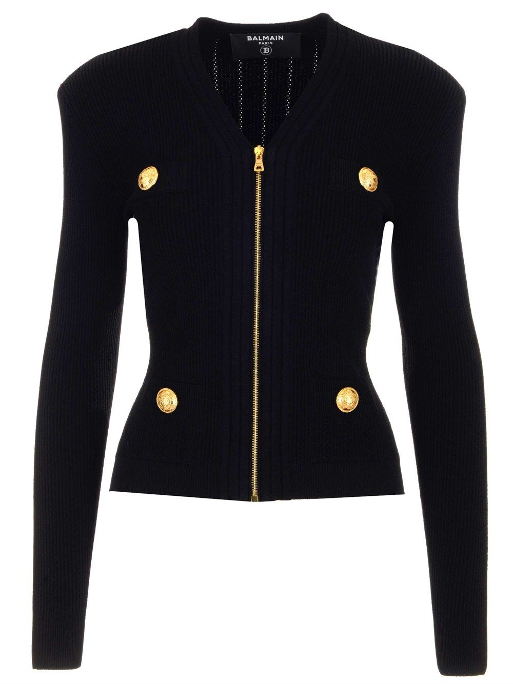 Balmain BALMAIN WOMEN'S VF0SK030K2110PA BLACK OTHER MATERIALS JACKET
