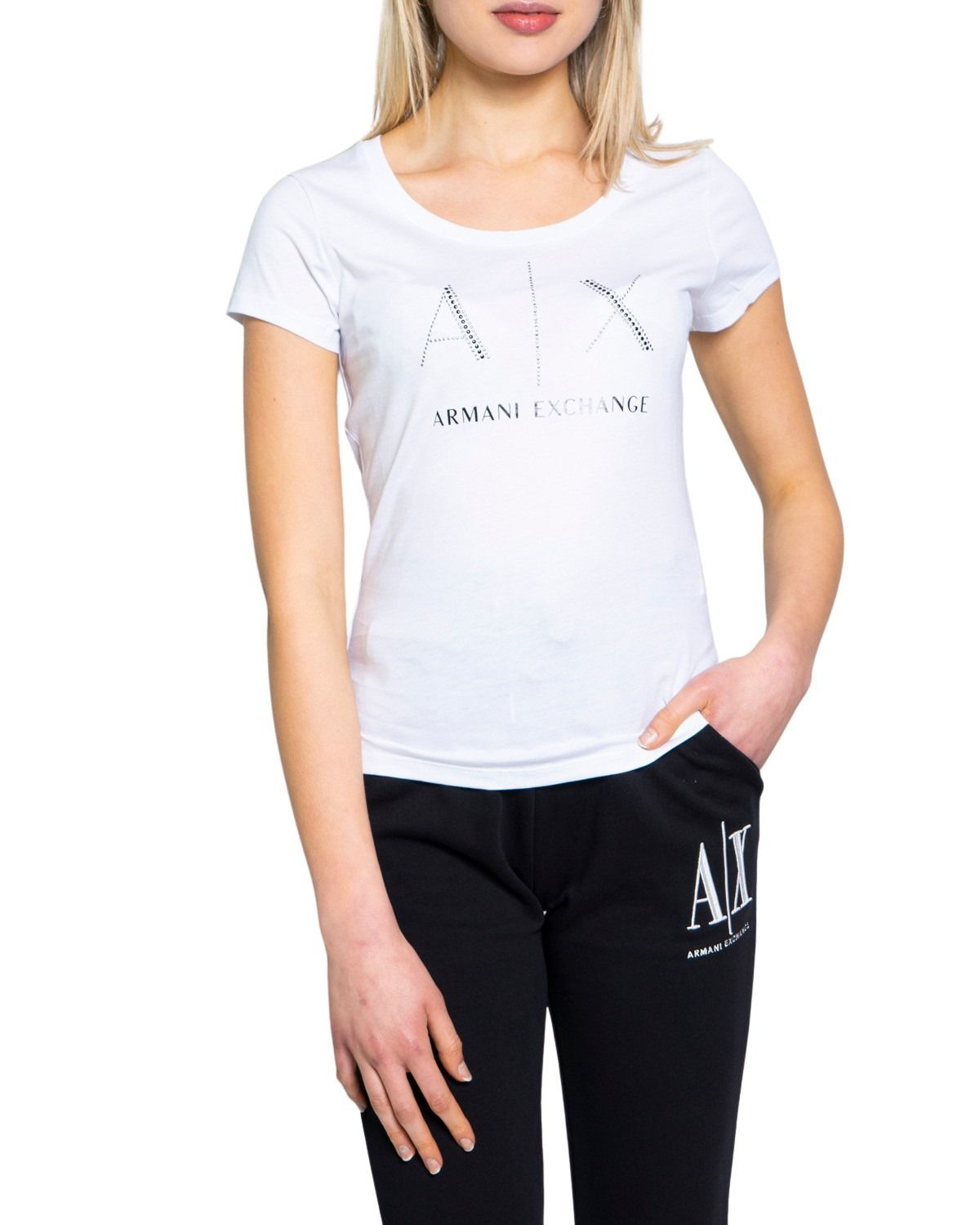 Armani Exchange ARMANI EXCHANGE WOMEN'S 8NYT83YJ16Z1100 WHITE COTTON T-SHIRT