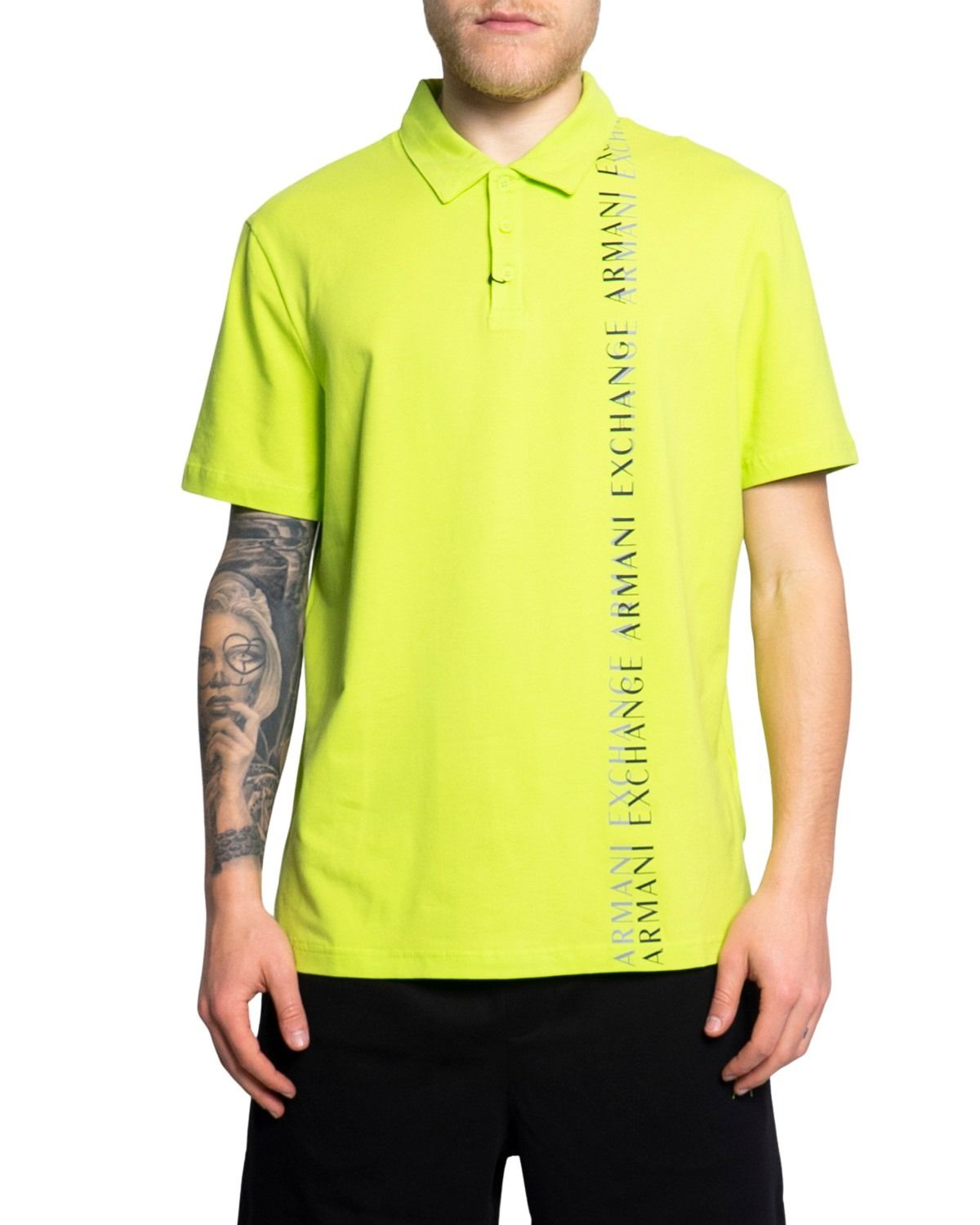 Armani Exchange ARMANI EXCHANGE MEN'S 3KZFFMZJ7UZYELLOW YELLOW COTTON POLO SHIRT