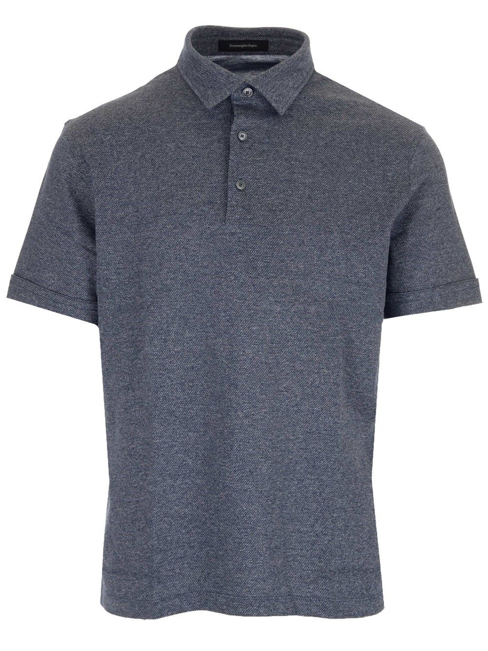 Ermenegildo Zegna ERMENEGILDO ZEGNA MEN'S UW344723101 BLUE OTHER MATERIALS POLO SHIRT