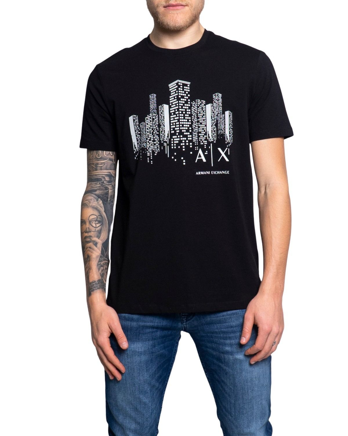 Armani Exchange ARMANI EXCHANGE MEN'S 3KZTFJZJE6Z1200 BLACK COTTON T-SHIRT