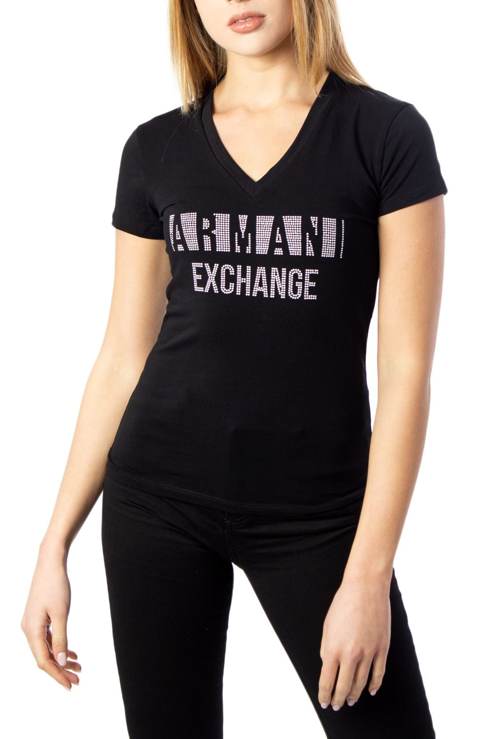 Armani Exchange ARMANI EXCHANGE WOMEN'S 8NYT90Y8C7Z1200 BLACK COTTON T-SHIRT