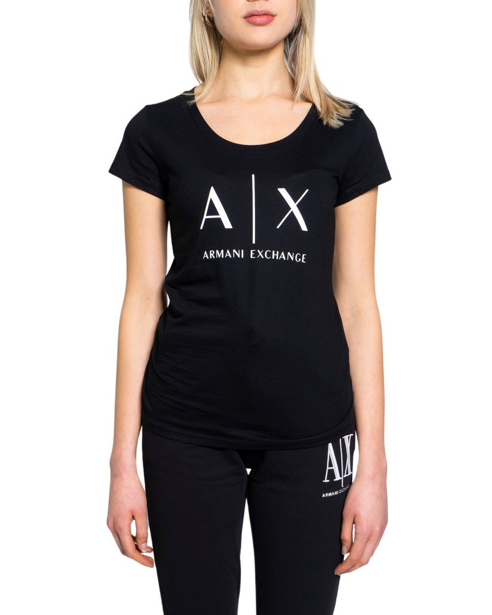 Armani Exchange ARMANI EXCHANGE WOMEN'S 8NYT70YJ16Z1200 BLACK COTTON T-SHIRT