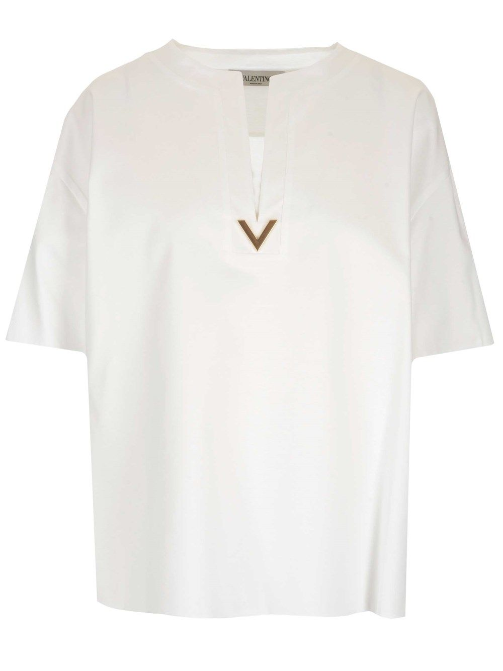 Valentino VALENTINO WOMEN'S VB3MG11T69W0BO WHITE COTTON BLOUSE
