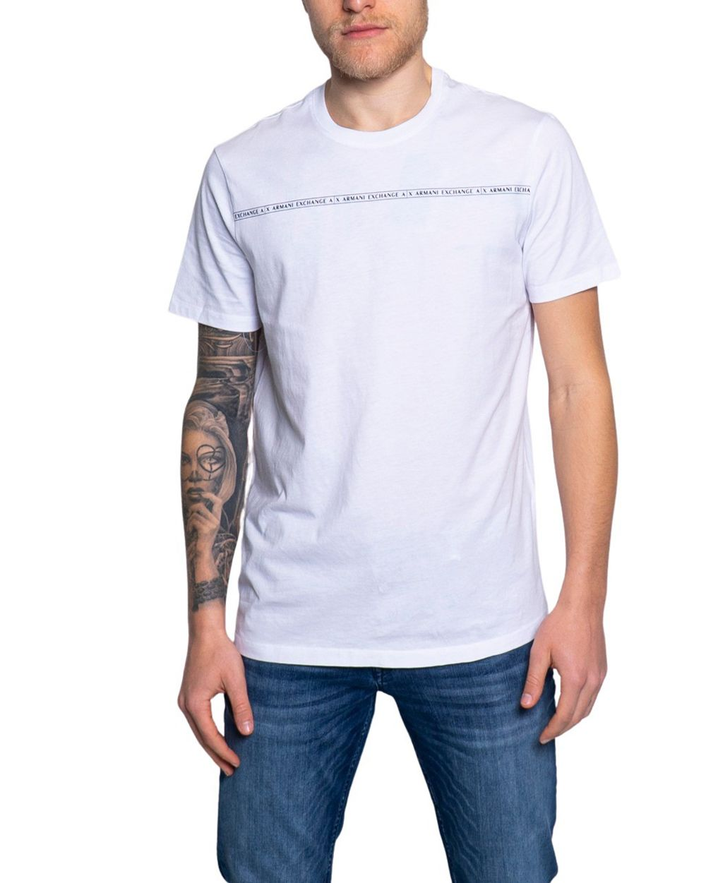 Armani Exchange ARMANI EXCHANGE MEN'S 8NZT93Z8H4Z1100 WHITE COTTON T-SHIRT