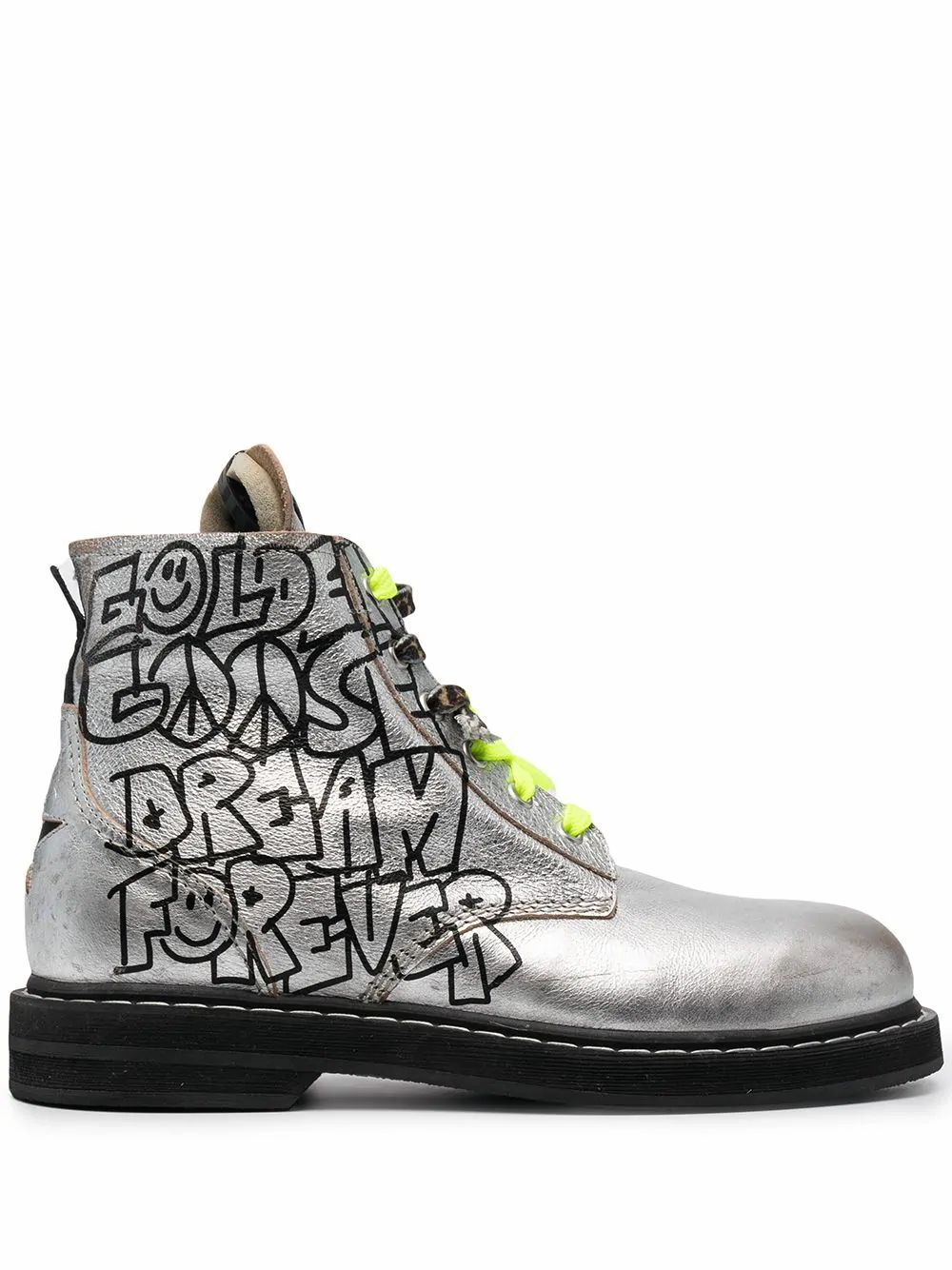Golden Goose GOLDEN GOOSE WOMEN'S GWF00187F00120060246 SILVER LEATHER ANKLE BOOTS
