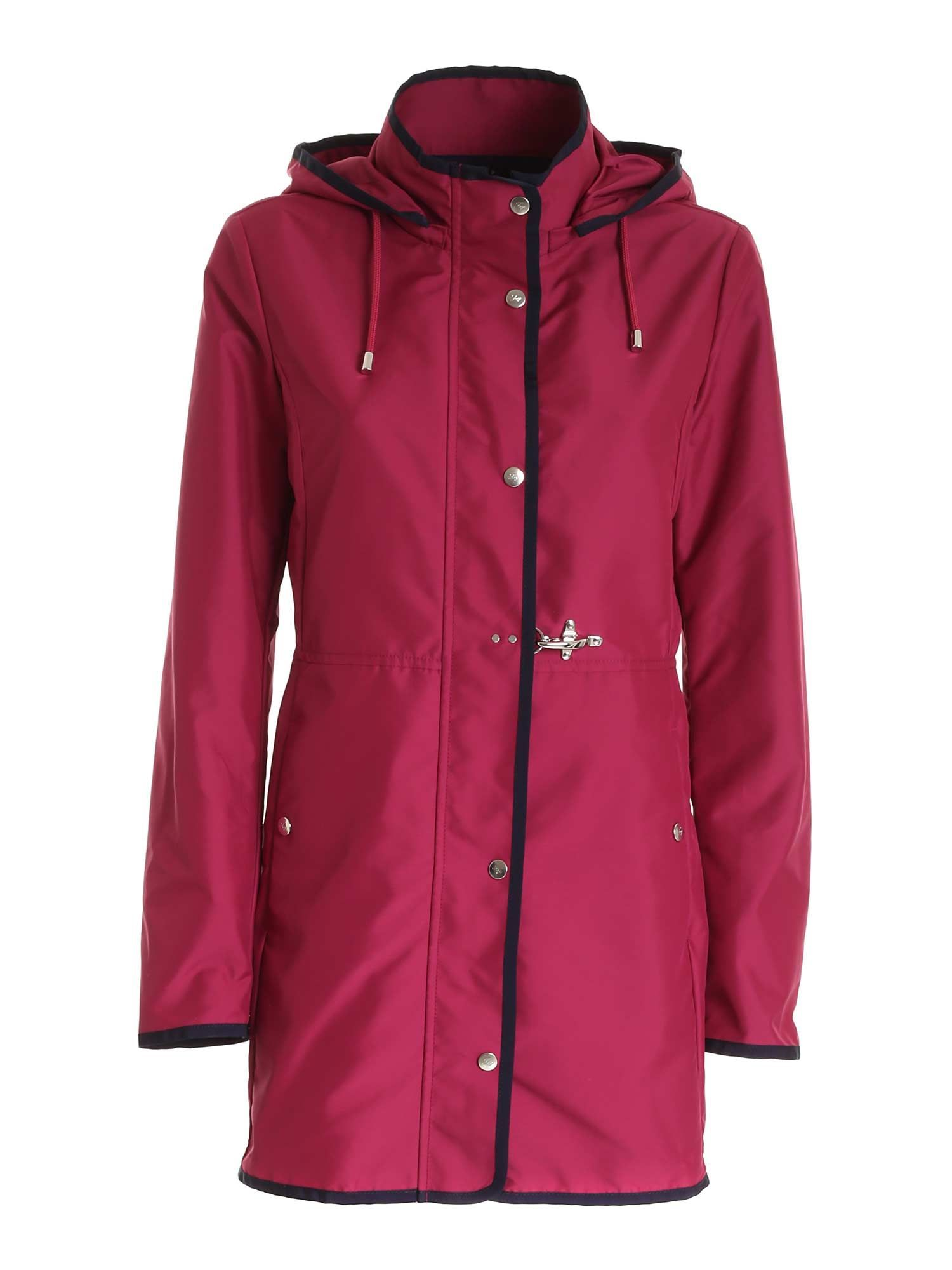 Fay Cottons FAY WOMEN'S NAW50423190AXXM803 BURGUNDY OTHER MATERIALS COAT