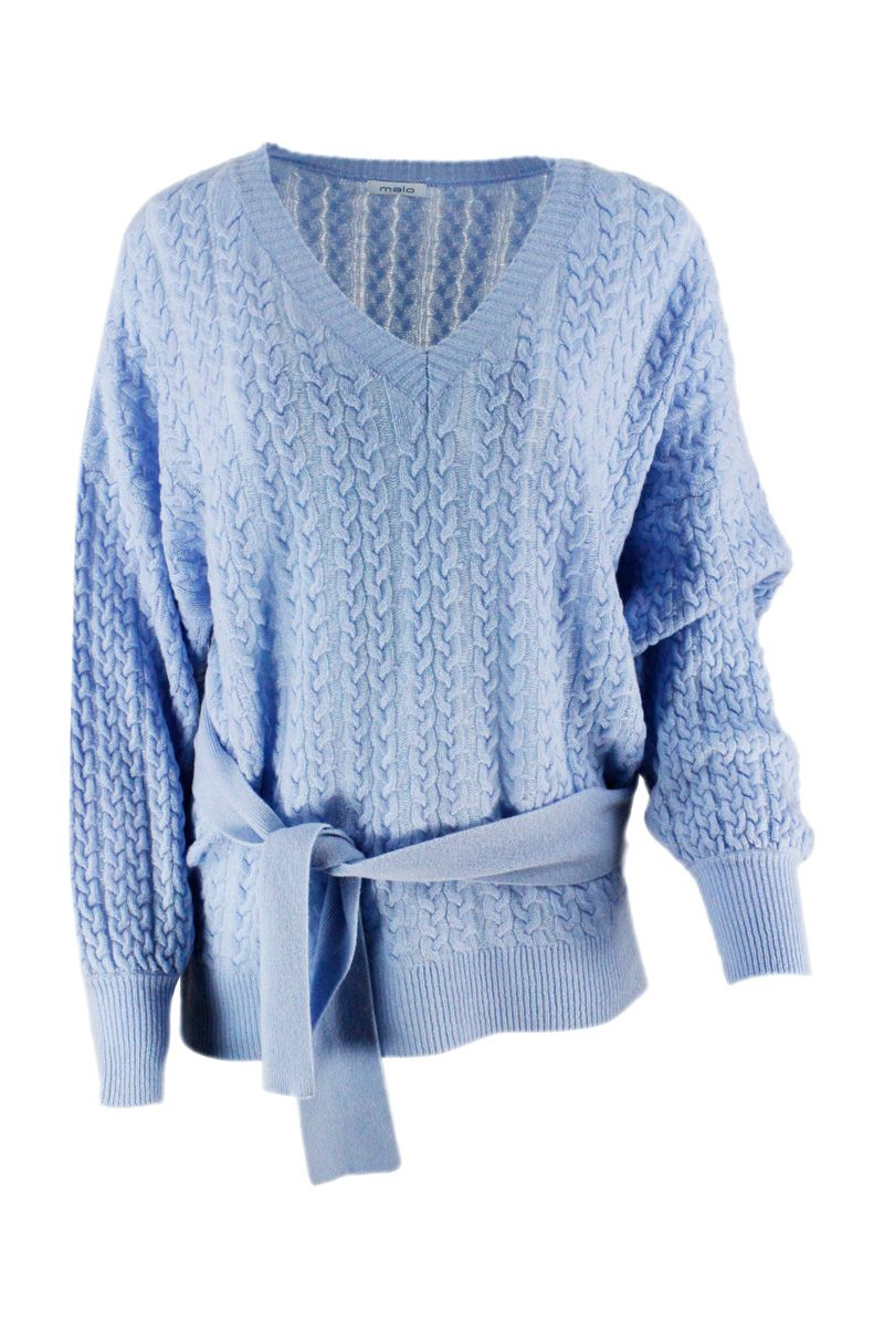 Malo Sweaters MALO WOMEN'S DXB058F1B80E3049 LIGHT BLUE CASHMERE SWEATER