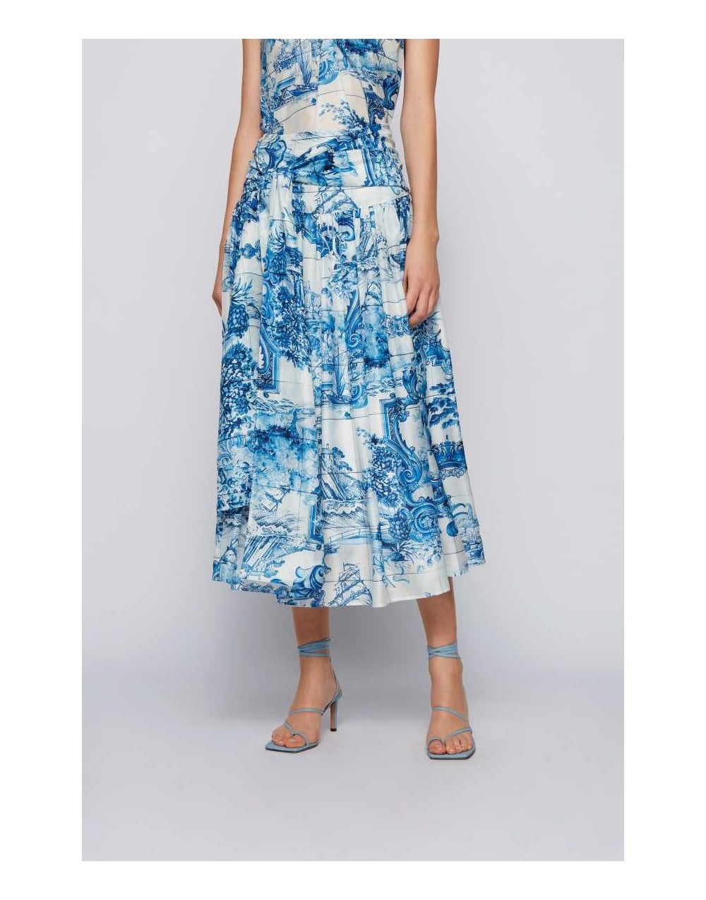 Hugo Boss Silks VIVILERA CHINESE GARDEN MIDI SKIRT